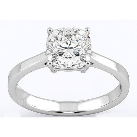 F Vs1 Cushion Cut 3.00 Ct Solitaire Diamond Ring White Gold 14K New Solitaire Ring