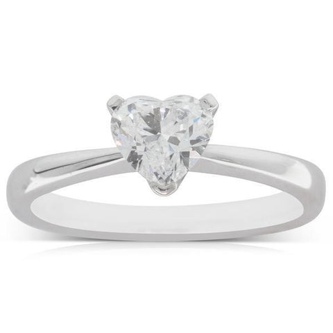 F Vs1 Heart Shape 1.75 Carat Diamond Solitaire Ring White Gold 14K Solitaire Ring