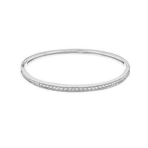F Vs2 Round Diamond Bangle Bracelet Solid White Gold 14K 3.50 Carats Bangle