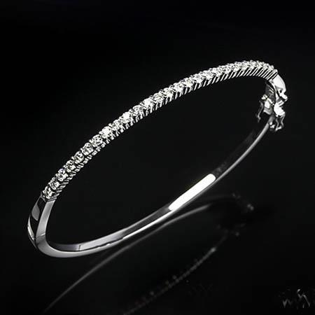 F Vs2 Round Prong Set 3.60 Carats Diamond Bangle Bracelet Bangle