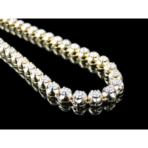 F Vvs1 8.8 Ct Diamonds 22 Inches Strand Necklace Mens Yellow Gold Necklace