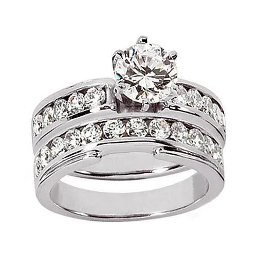 F Vvs1 Diamonds 1.51 Ct. Engagement Fancy Ring Set White Gold Engagement Ring Set
