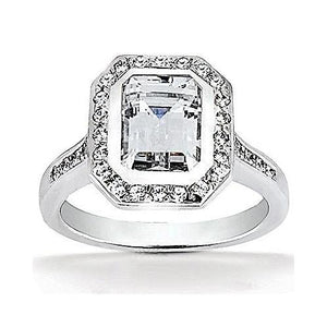 F Vvs1 Diamonds Emerald Cut Halo Ring 2.25 Carats Halo Ring