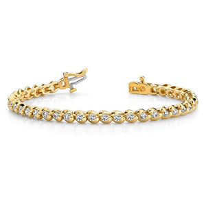 F Vvsi Round Diamonds Basic Tennis Bracelet 14K Yellow Gold 5 Carats Tennis Bracelet