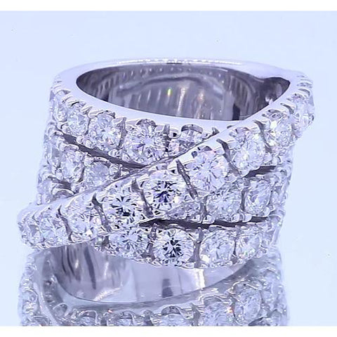 Fancy Ring Round Diamonds Four Prong White Gold 14K 5.10 Carats Eternity Band