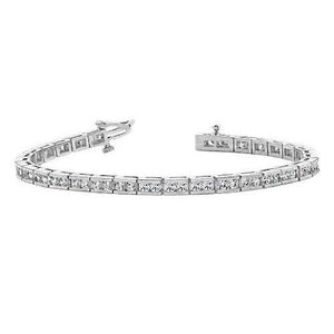 Fancy Tennis Bracelet 6 Carats Round Cut Diamonds White Gold 14K New Tennis Bracelet