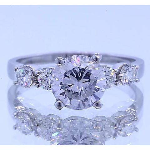 Five Round Diamond Engagement Ring Prong Setting 2.25 Carats Engagement Ring