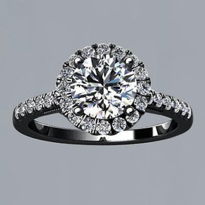 Flower Style 2.50 Ct. Round Halo Diamond Solitaire With Accents Ring Black Gold 14K Halo Ring