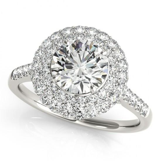 Flower Style Round Diamonds 2 Carats Engagement Fancy Ring Halo White Gold 14K Halo Ring