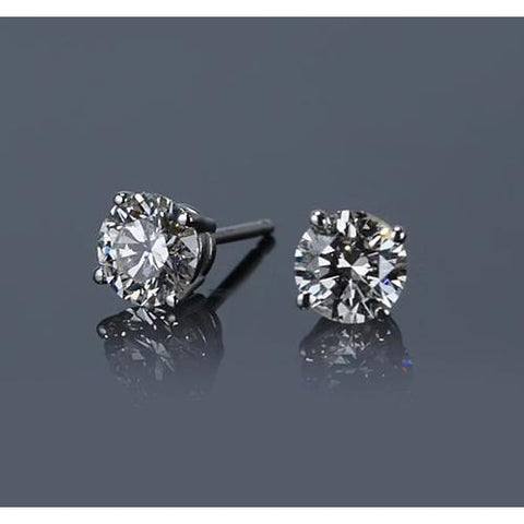 Four Prong Round Diamond Stud Earring 1.30 Carats White Gold 14K F Vs1 Jewelry Stud Earrings