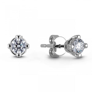 Four Prong Set 2 Ct Round Cut Diamonds Studs Earring White Gold 14K Stud Earrings