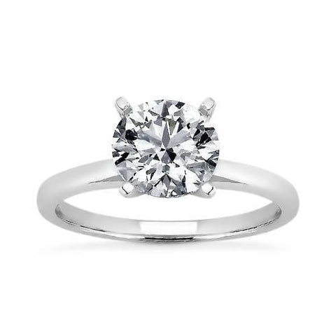 Four Prong Set Round G-Vs2 Diamond Ring White Gold 14K Ring