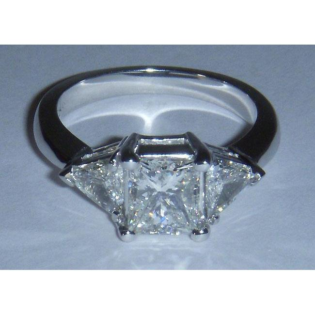 G Si Princess Cut And Trilliant Cut 1.61 Carat Diamond Ring Gold 14K White Ring