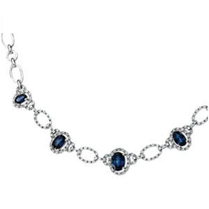 Genuine Ceylon Sapphire And Diamond Necklace Sapphire-Blue Gemstone Necklace