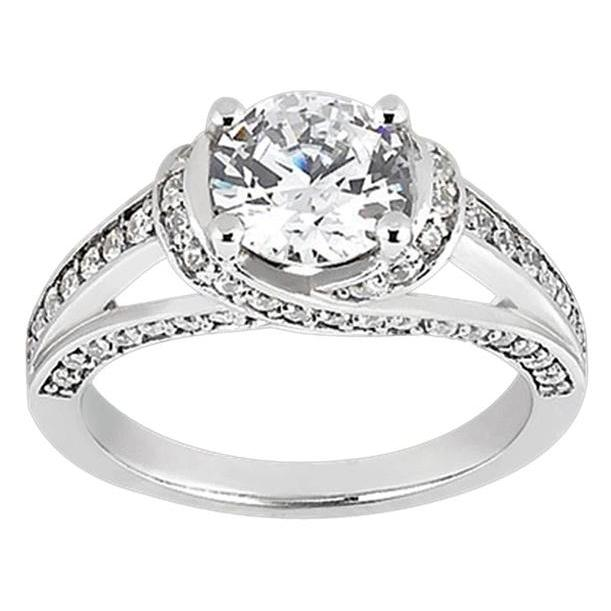 Gorgeous 2 Carat Diamonds Anniversary Solitaire Ring  With Accents White Gold Jewelry New Solitaire Ring with Accents
