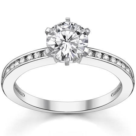 Gorgeous 3 Carats Round Cut Diamonds Engagement Ring Solitaire With Accents White Gold 14K Solitaire Ring with Accents