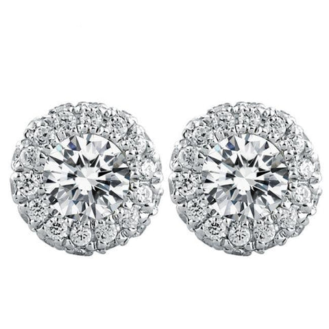 Gorgeous 3.40 Ct Round Cut Halo Diamonds Ladies Studs Earring White Gold Halo Stud Earrings