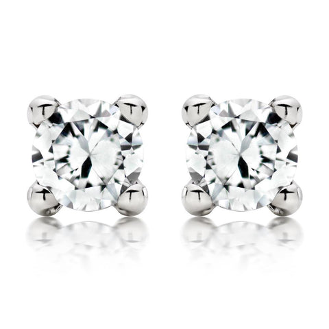 Gorgeous 4 Carats Round Cut Diamonds Studs Earring White Gold 14K Stud Earrings