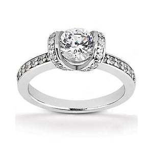 Gorgeous Engagement Ring Solitaire White Gold 18K Diamonds 1.41 Ct. Solitaire Ring with Accents
