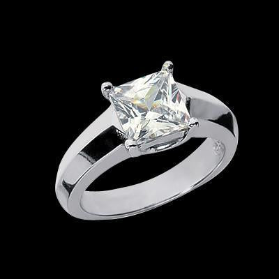 Gorgeous Princess 1.51 Carat Diamond Solitaire Ring White Gold Engagement Jewelry Solitaire Ring
