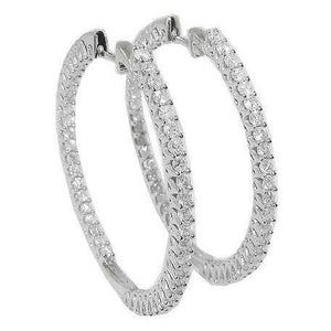 Gorgeous Round Cut 5.50 Ct F Vvs1 Diamonds Hoop Earrings White Gold Hoop Earrings