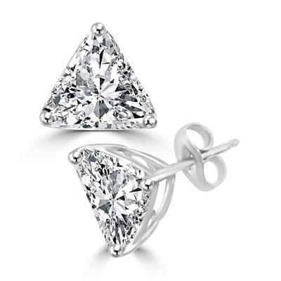 Gorgeous Trilliant Cut Diamond 2 Carats Stud Women Earring Pair White Gold Stud Earrings