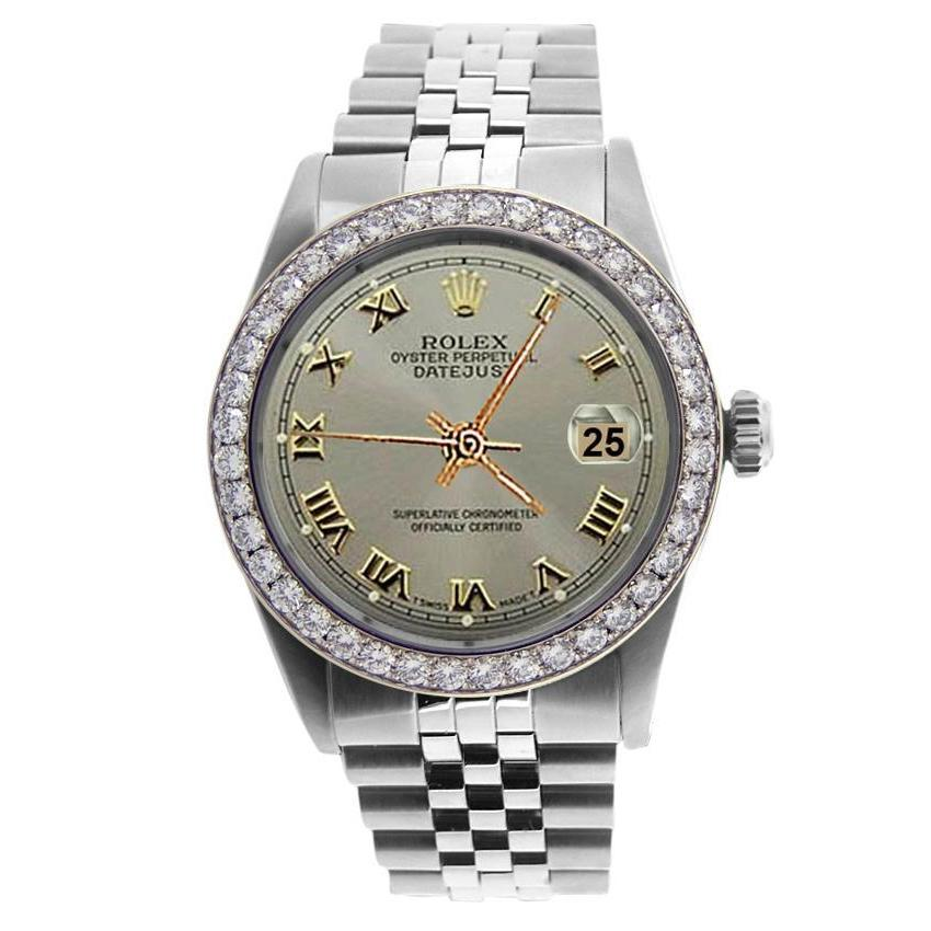 Gray Roman Dial Ss Jubilee Rolex Bracelet Men Watch  Diamond Bezel Rolex