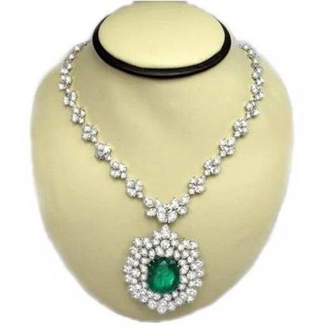 "Green Emerald And Diamonds 79.16 Ct Necklace 17"" Platinum Gemstone Necklace"
