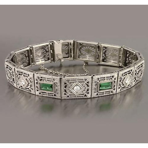 Green Emerald Diamond Baguette Cut Bracelet 4.05 Carats New Tennis Bracelet