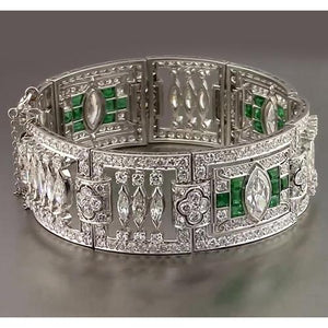 Green Emerald Diamond Bracelet 32 Carats F Vs1 Aaa White Gold 14K Gemstone Bracelet