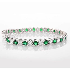 Green Emerald & Diamond Tennis Bracelet Prong Set 33.25 Carats Women Jewelry New Gemstone Bracelet