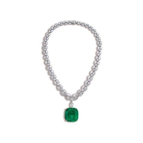 Green Emerald With Diamonds Women Necklace White Gold 14K  25 Ct Gemstone Necklace