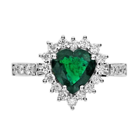Green Heart Cut Emerald And Diamond Ring 6 Carats White Gold 14K Ring