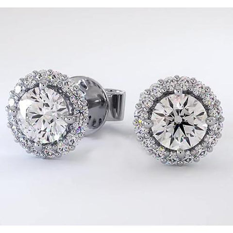 Halo Diamond Stud Earrings 3 Carats Halo Stud Earrings
