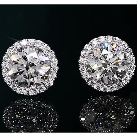 Halo Diamond Studs 2 Carats Halo Stud Earrings