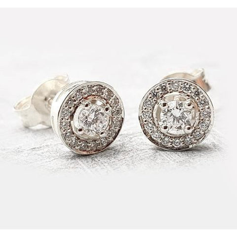 Halo Diamond Studs 2.50 Carats Halo Stud Earrings