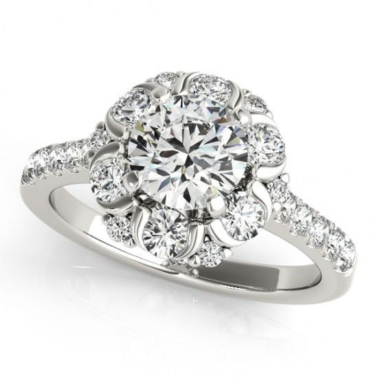 Halo Fancy Ring Round Diamonds 2.00 Carats White Gold 14K Halo Ring
