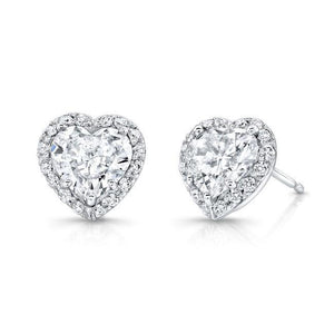 Halo Heart And Round Shape 4.60 Ct Diamonds Stud Earrings White Gold 14K Halo Stud Earrings