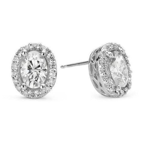 Halo Oval Diamond Studs Earring 3 Carats White Gold 14K Halo Stud Earrings