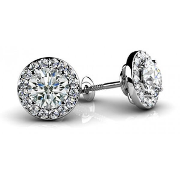 Halo Round Cut Accent Diamond Stud Earring 1.98 Ct. White Solid Gold Prong Set Halo Stud Earrings