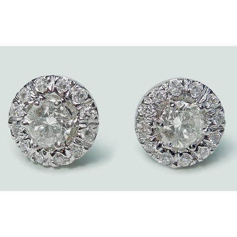 Halo Round Cut Diamond Stud Earring 3.20 Ct. White Gold Jewelry Halo Stud Earrings