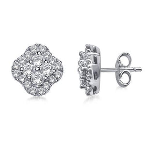 Halo Round Diamond Stud Earring White Gold 14K Women Jewelry 3 Ct. Halo Stud Earrings