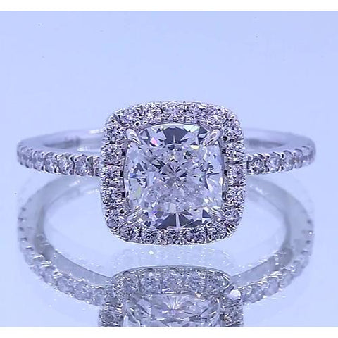Halo Set 3.50 Carats Anniversary Ring Cushion & Round Diamonds Halo Ring