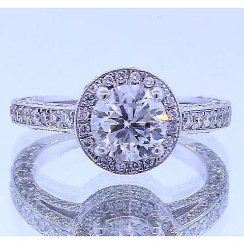 Halo Set Round Diamond Anniversary Ring 4 Carats Halo Ring