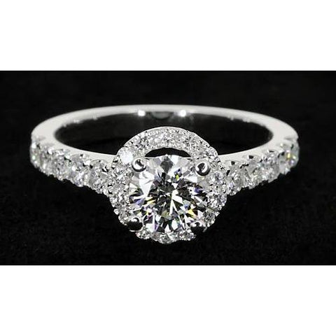 Halo Setting Round Diamond 4 Prong Engagement Ring Womens' Jewelry Halo Ring