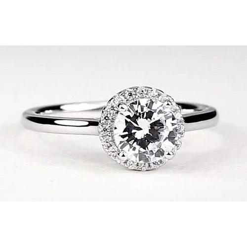 Halo Setting Solitaire Round Engagement Ring Halo Ring