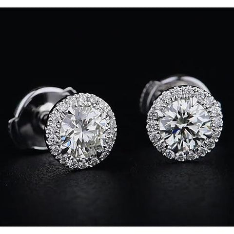 Halo Style Round Diamond Stud Earring 2.20 Carats White Gold 14K F Vs1 Vvs1 Halo Stud Earrings