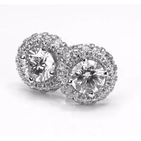 Halo Style Round Diamond Stud Earring 2.50 Carats White Gold 14K F Vs1 Vvs1 Halo Stud Earrings