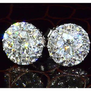 Halo Style Round Diamond Stud Earring 3.50 Carats White Gold 14K Halo Stud Earrings