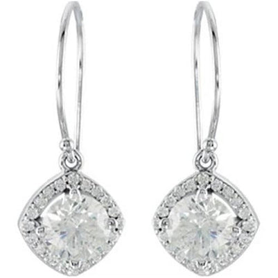Halo-Styled Dangle Diamond Earrings 2.20 Carats 14K White Gold Dangle Earrings